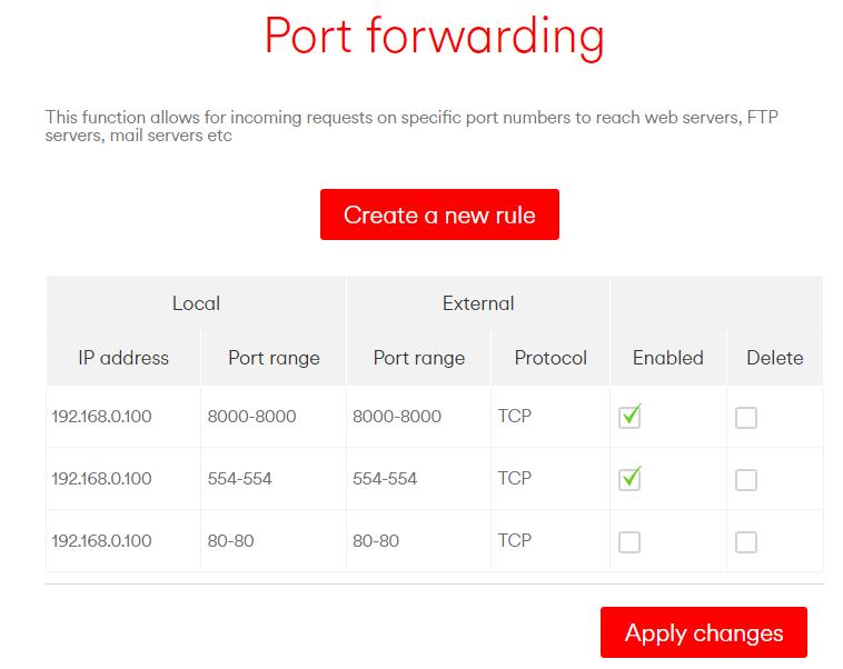 Port Forwarding Example